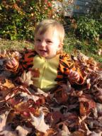 Sylvan happy in the leaves