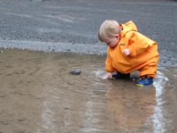 Sylvan playing in a puddle at the Benson Lake TH