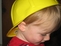 Sylvan wears his construction helmet