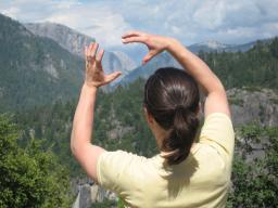 Julie holding Half Dome