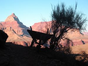 Wheelbarrow with Vishnu Point behind