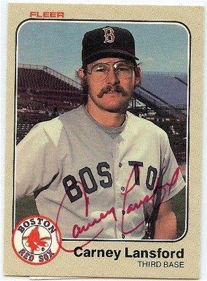 smokin' hot carney lansford baseball card, 1983 fleer
