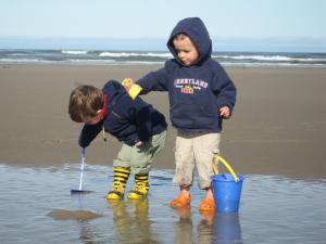 Sylvan and Cole busily moving the beach two inches to the left