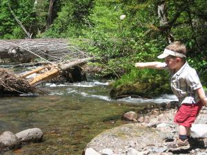 Sylvan throws rocks into the Middle Fork