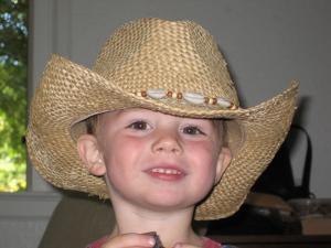 Sylvan in Momma's cowboy hat