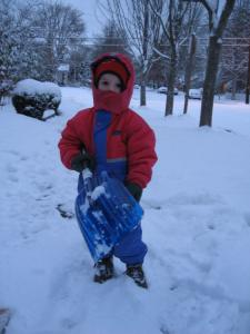 Sylvan shovels the sidewalk