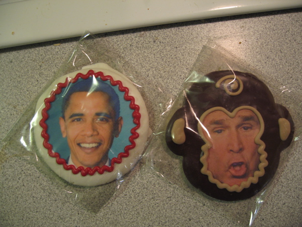obama cookie, bush monkey cookie