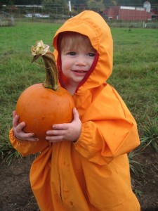 Elena picked a great one, and her camouflage was perfect for the pumpkin patch.