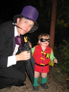 The Penguin and Robin, Boy Wonder arrive at the party.
