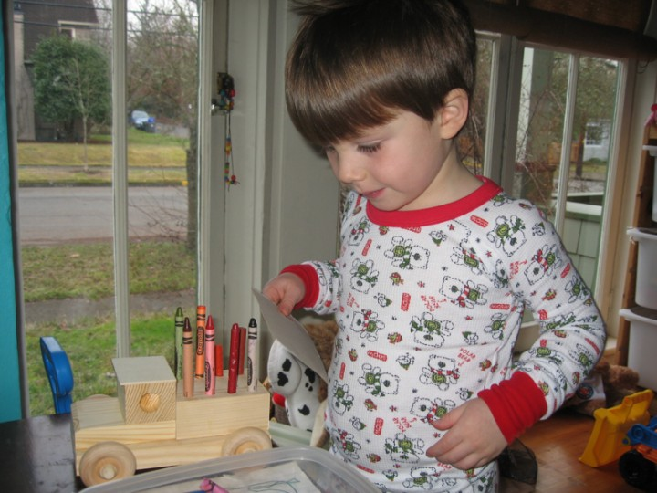 Christmas crayon truck, given by Aunt Sheila and Uncle Hugh, put together by Sylvan and Grampa Tom